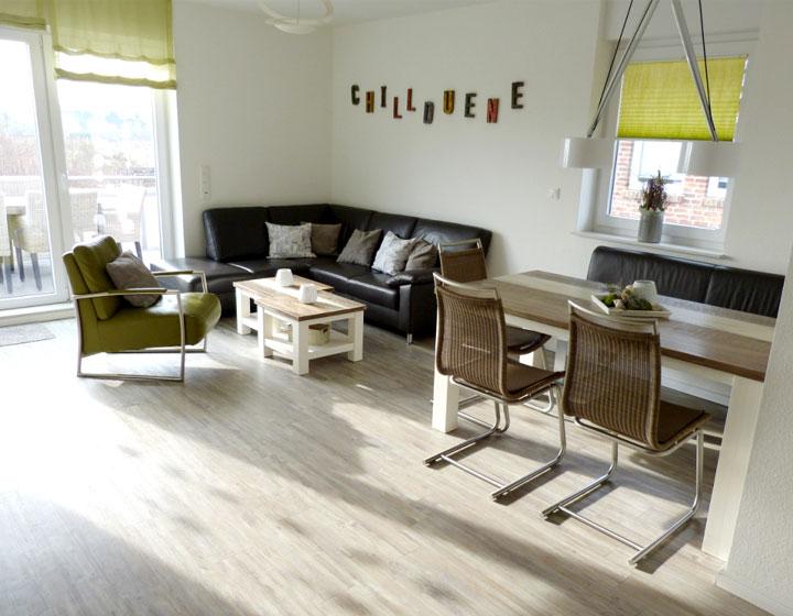 Der große Wohnraum der Ferienwohnung Chilldüne Borkum